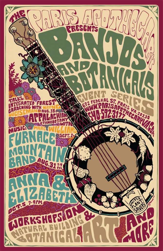 The Paris Apothecary presents the first annual Banjos & Botanicals event series featuring local musicians, artists & speakers bringing together the connections between plants, people & music.