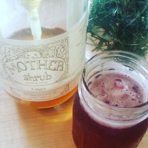 Ginger shrub crafted by Mother Shrub (Richmond, VA) infused with Elderberry HIbiscus syrup made at the Paris Apothecary (Paris, VA)
